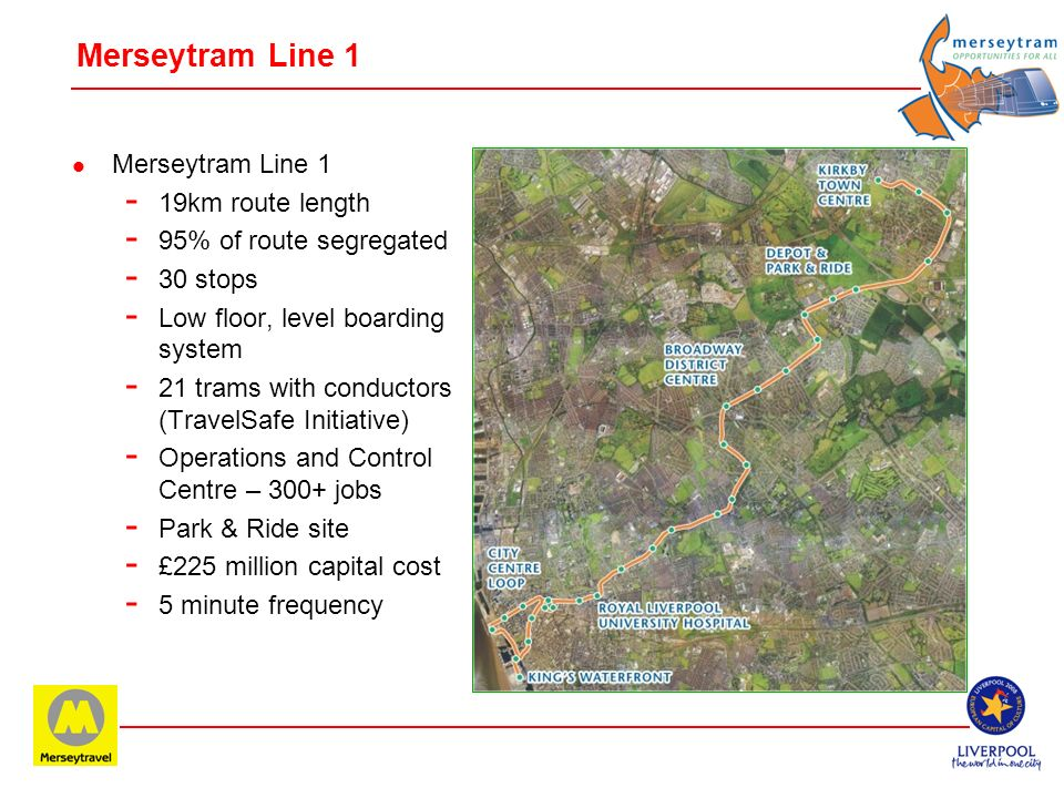Merseytram Line 1 Merseytram Line 1 19km route length
