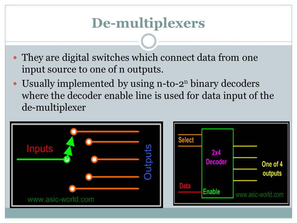 De-multiplexers They are digital switches which connect data from one input source to one of n outputs.