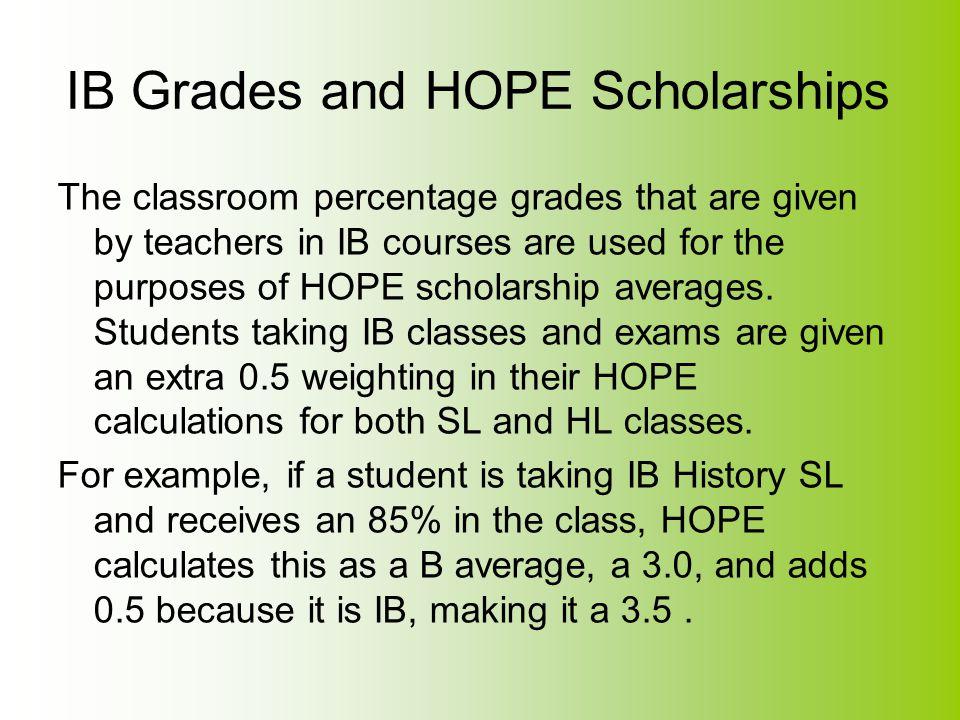 IB Grades and HOPE Scholarships