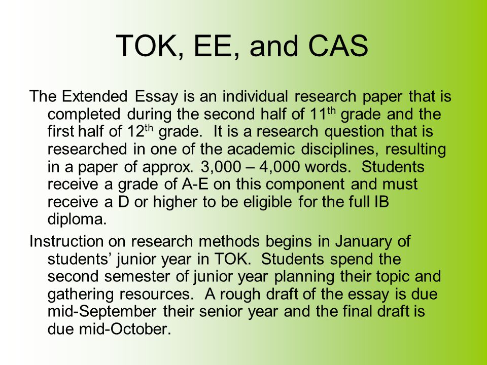 TOK, EE, and CAS