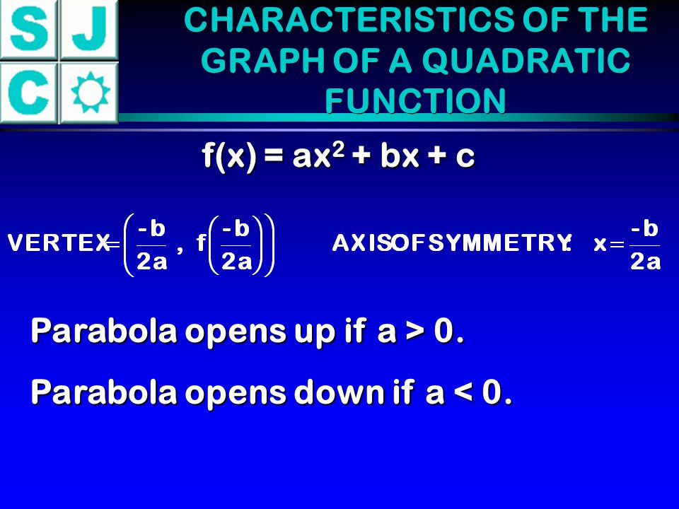 CHARACTERISTICS OF THE GRAPH OF A QUADRATIC FUNCTION