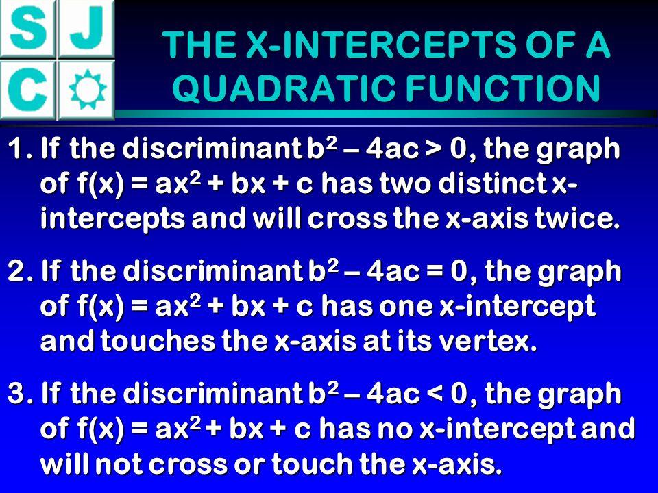 THE X-INTERCEPTS OF A QUADRATIC FUNCTION