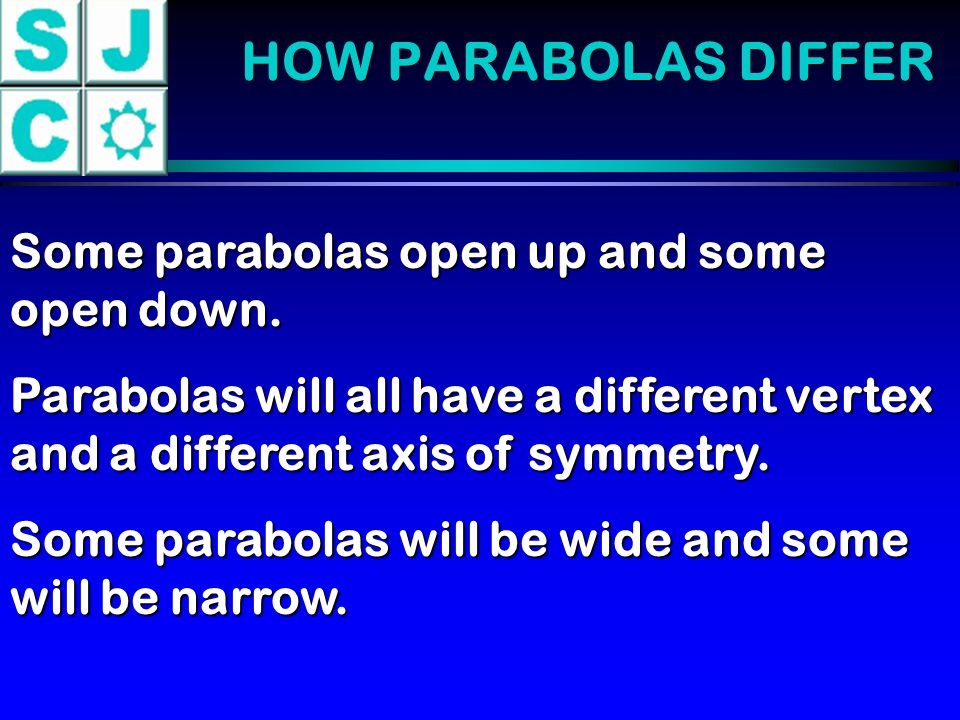 HOW PARABOLAS DIFFER Some parabolas open up and some open down.
