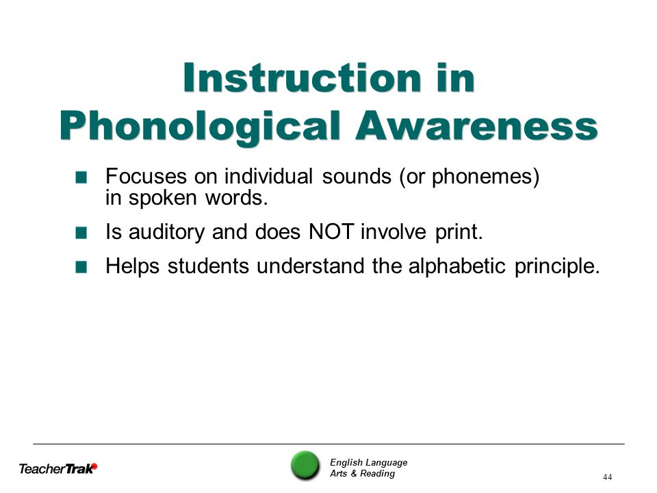 Instruction in Phonological Awareness