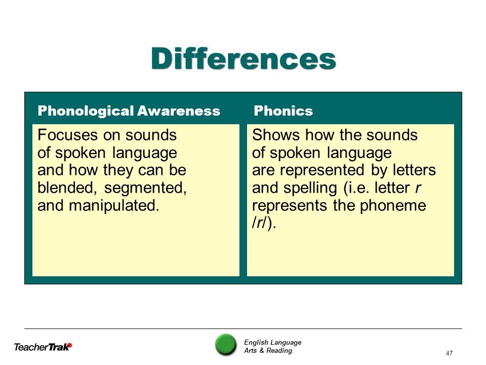 Differences Phonological Awareness Phonics. Focuses on sounds of spoken language and how they can be blended, segmented, and manipulated.