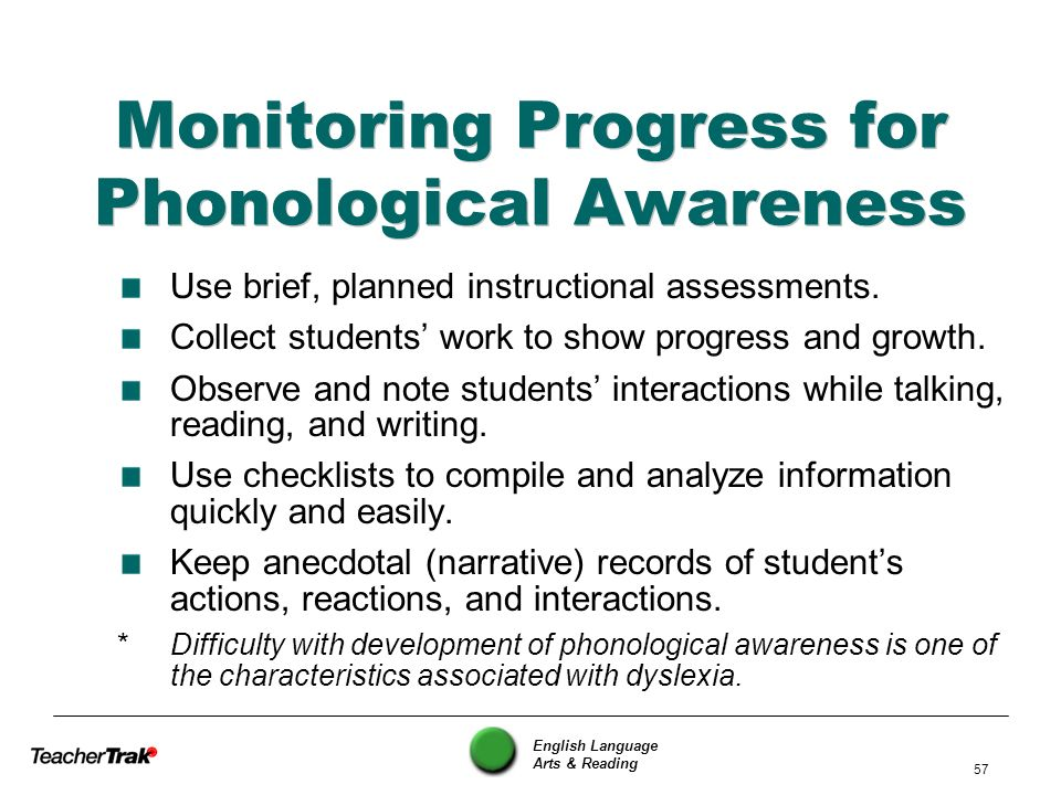 Monitoring Progress for Phonological Awareness