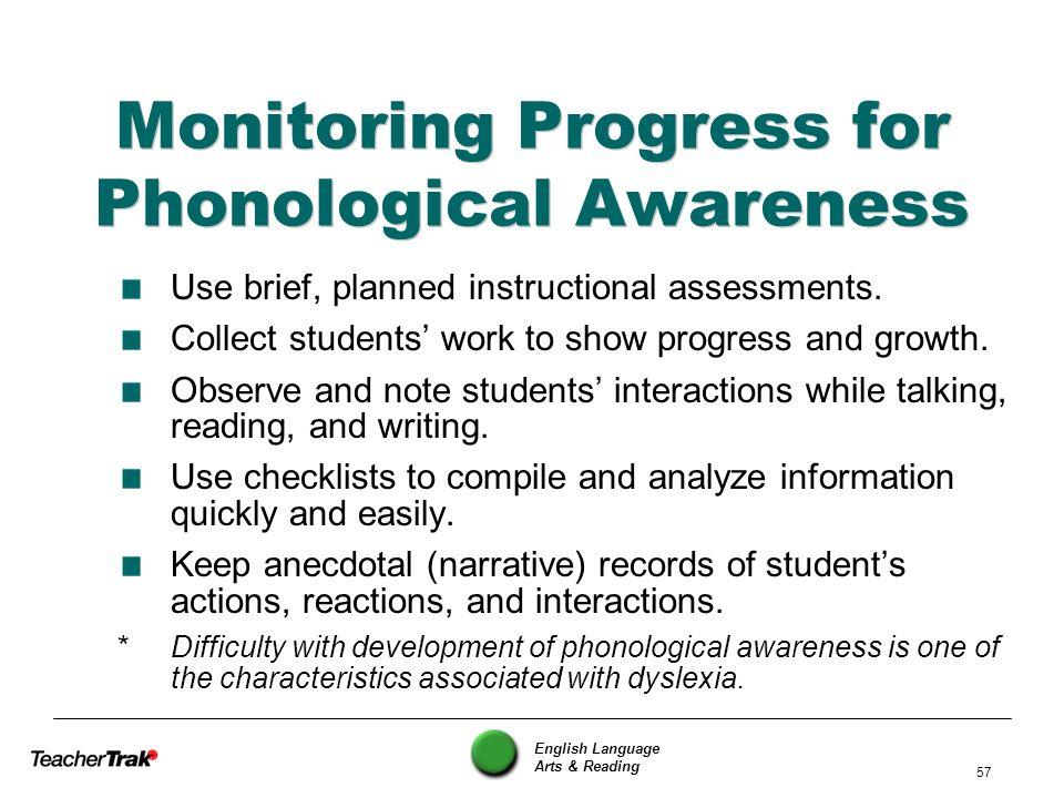 Monitoring Progress for Phonological Awareness