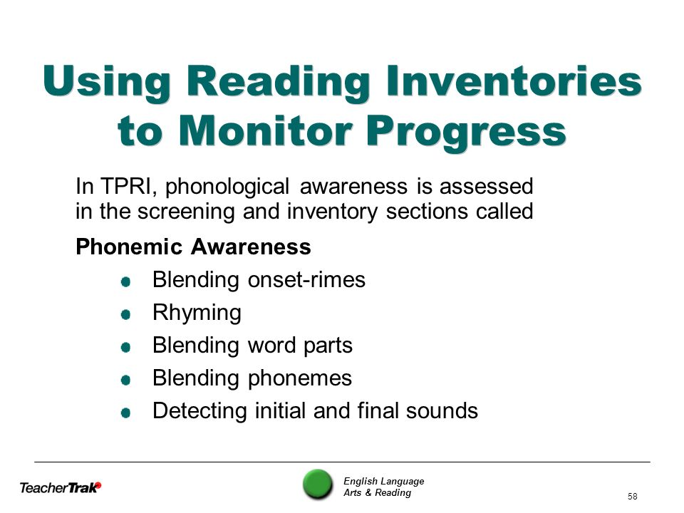 Using Reading Inventories to Monitor Progress