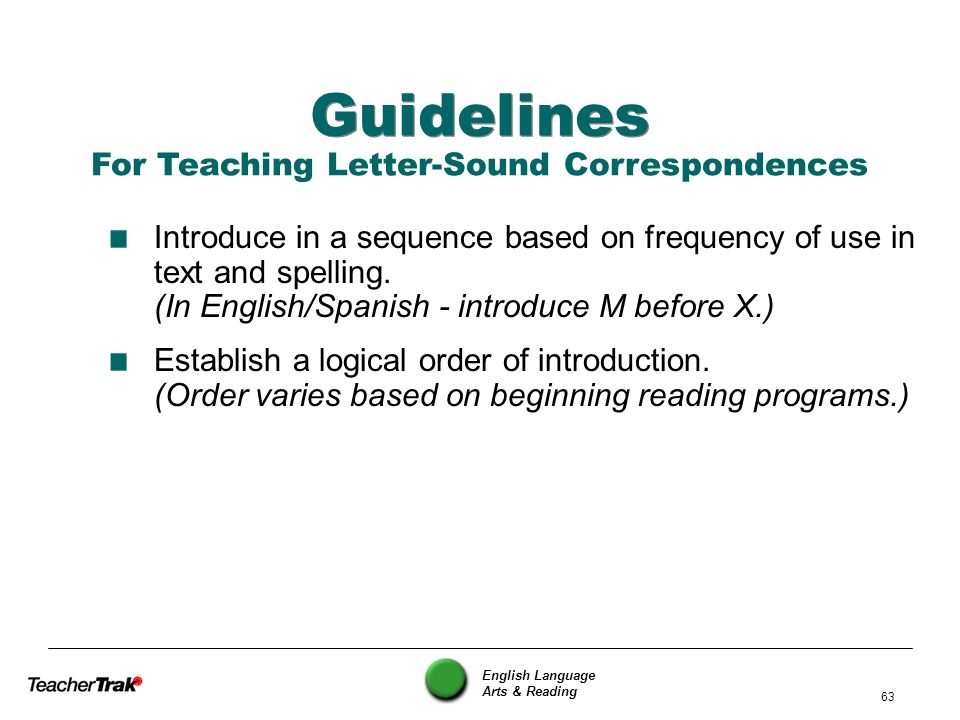 For Teaching Letter-Sound Correspondences