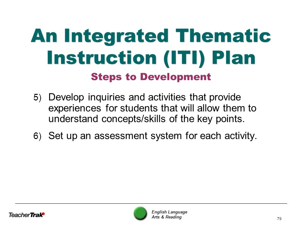 An Integrated Thematic Instruction (ITI) Plan