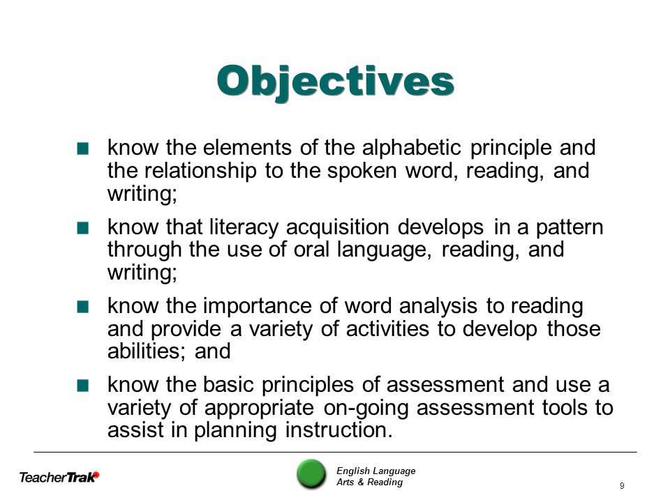 Objectives know the elements of the alphabetic principle and the relationship to the spoken word, reading, and writing;