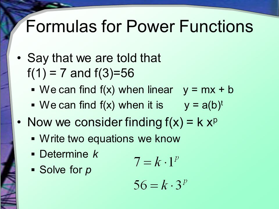 Formulas for Power Functions