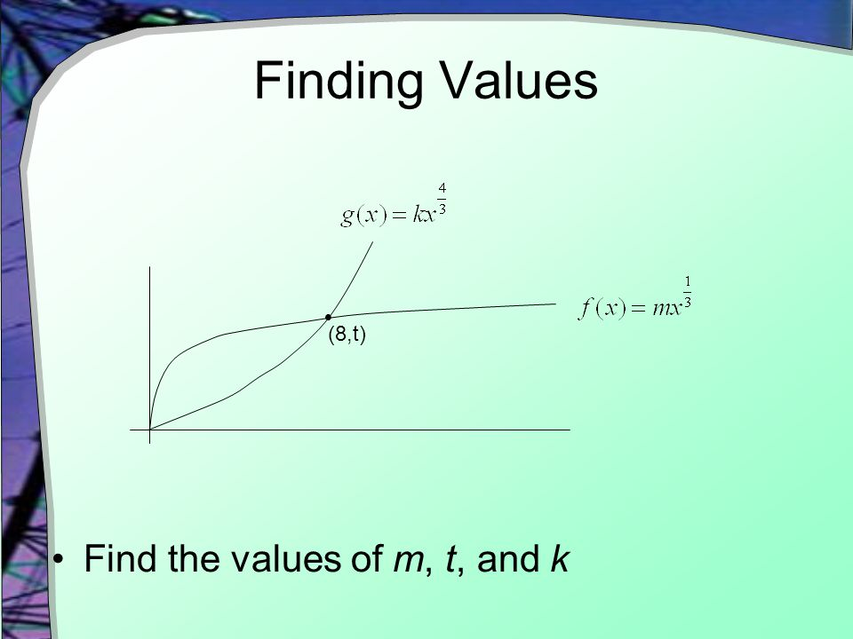 Finding Values  (8,t) Find the values of m, t, and k