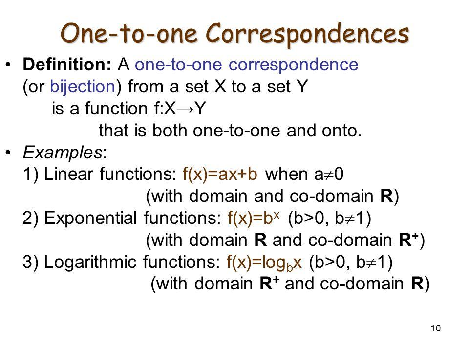 One-to-one Correspondences