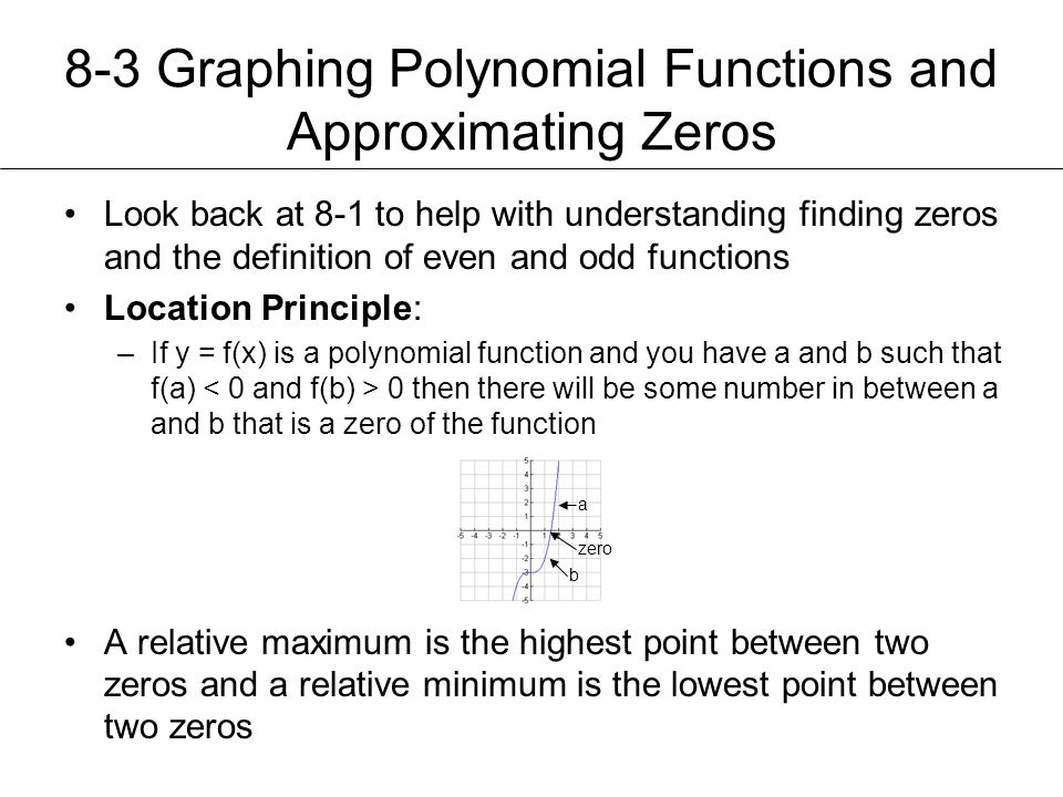8-3 Graphing Polynomial Functions and Approximating Zeros