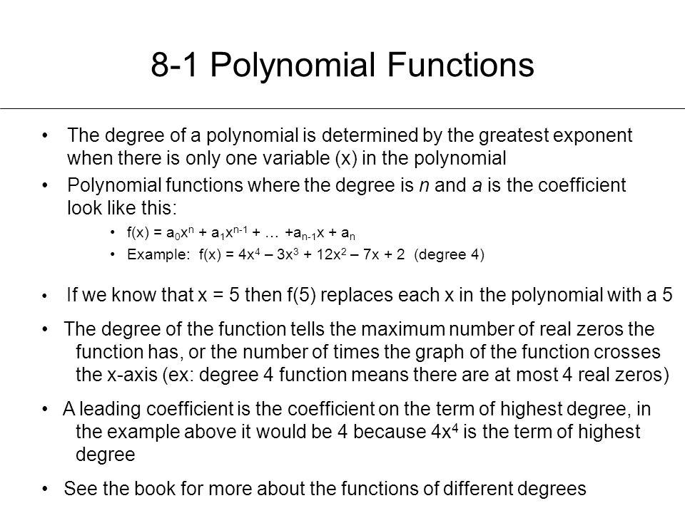 8-1 Polynomial Functions