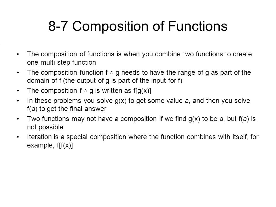 8-7 Composition of Functions