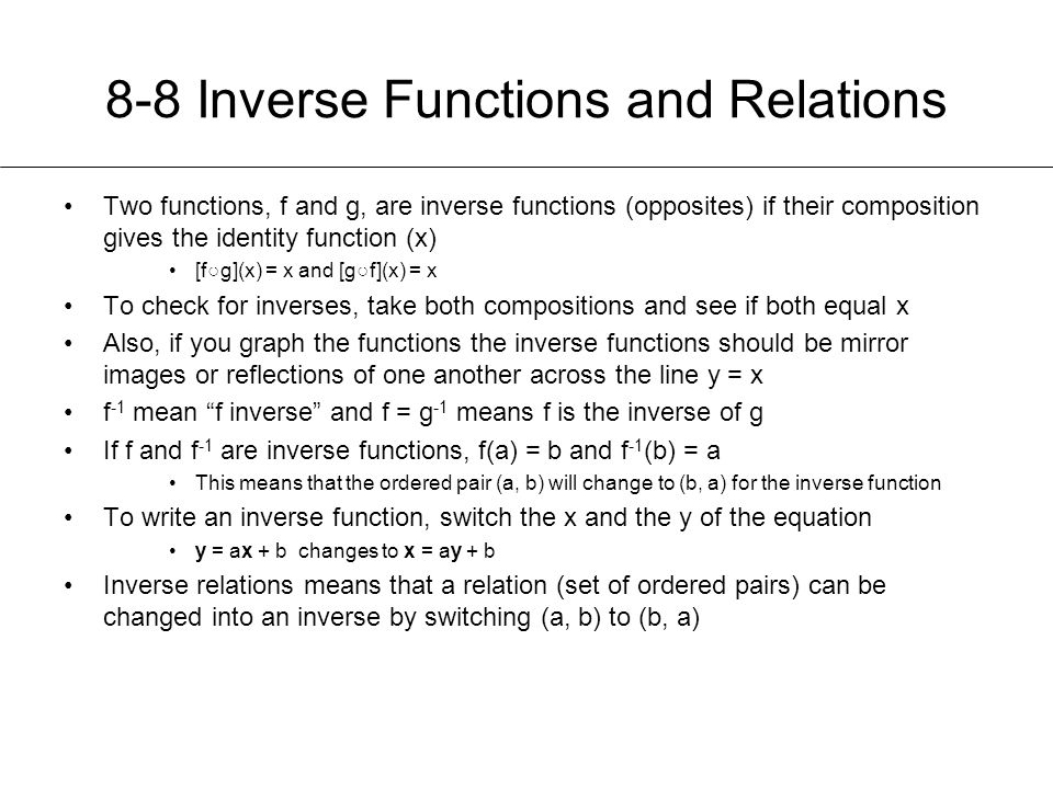 8-8 Inverse Functions and Relations