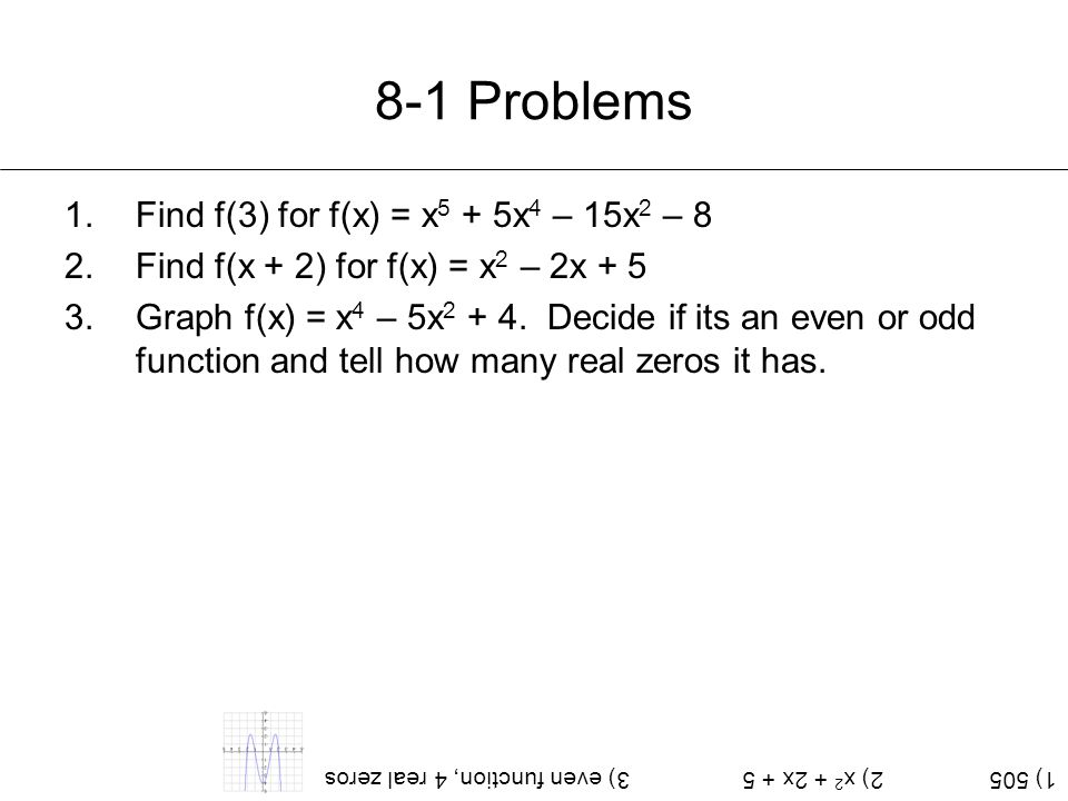 8-1 Problems Find f(3) for f(x) = x5 + 5x4 – 15x2 – 8