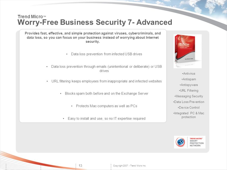 Trend Micro™ Worry-Free Business Security 7- Advanced
