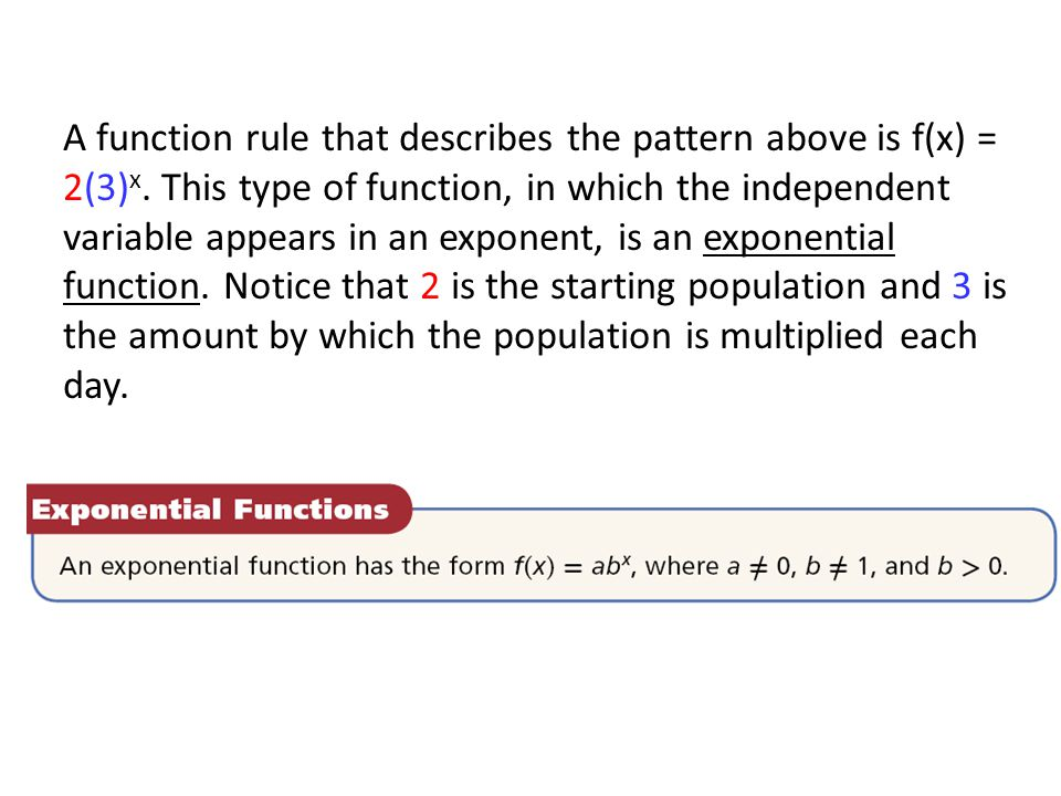 A function rule that describes the pattern above is f(x) = 2(3)x