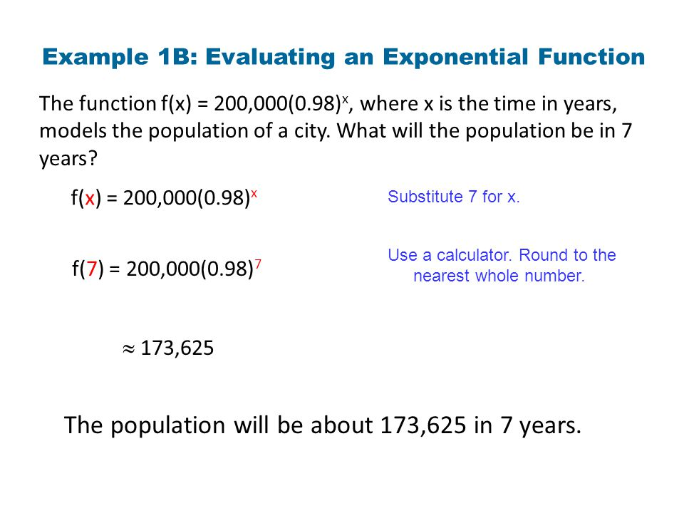 Example 1B: Evaluating an Exponential Function