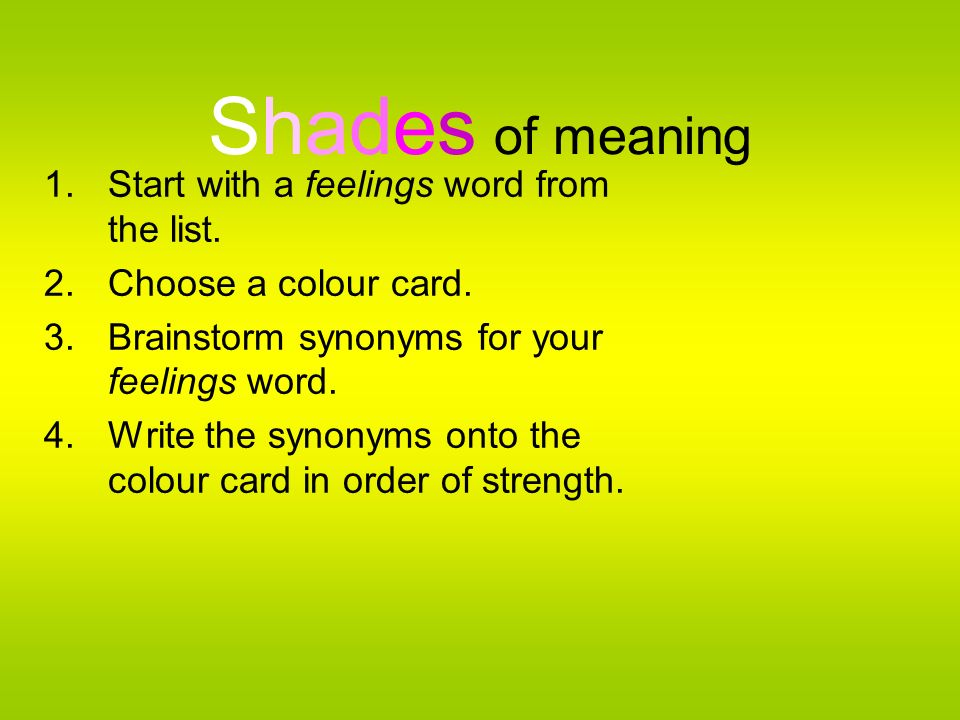 Shades of meaning Start with a feelings word from the list.