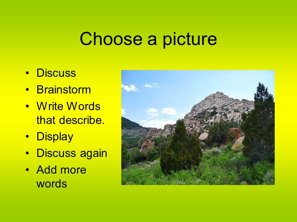 Choose a picture Discuss Brainstorm Write Words that describe. Display