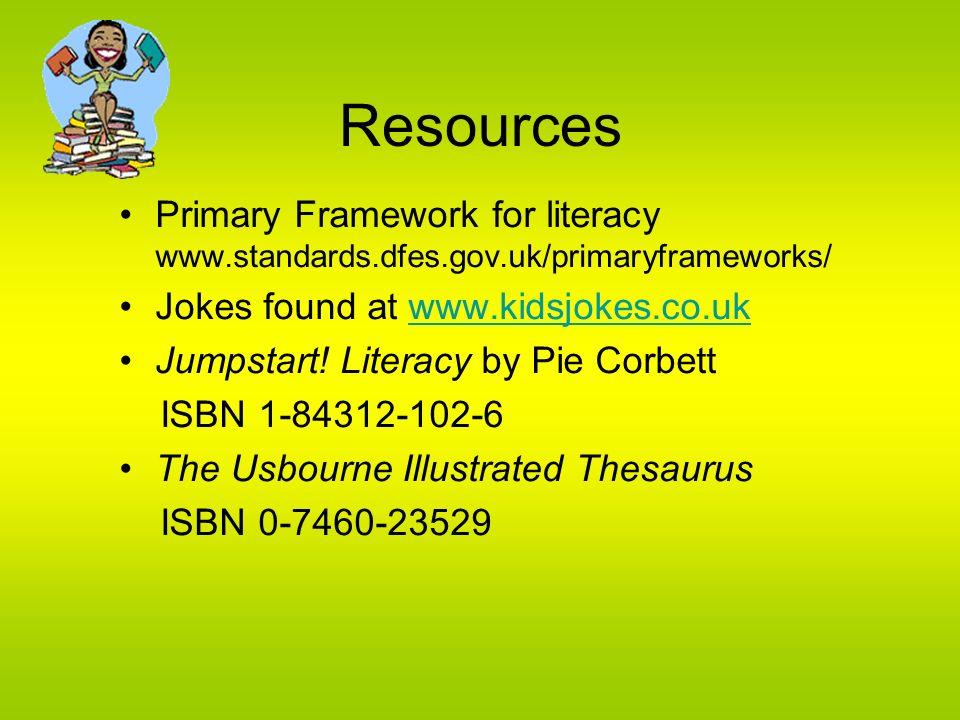 Resources Primary Framework for literacy www.standards.dfes.gov.uk/primaryframeworks/ Jokes found at www.kidsjokes.co.uk.