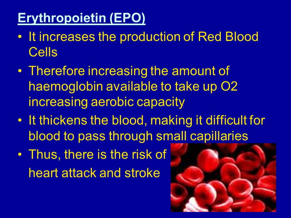 Erythropoietin (EPO) It increases the production of Red Blood Cells.