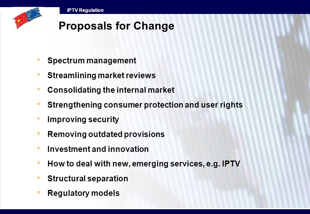 Proposals for Change Spectrum management Streamlining market reviews