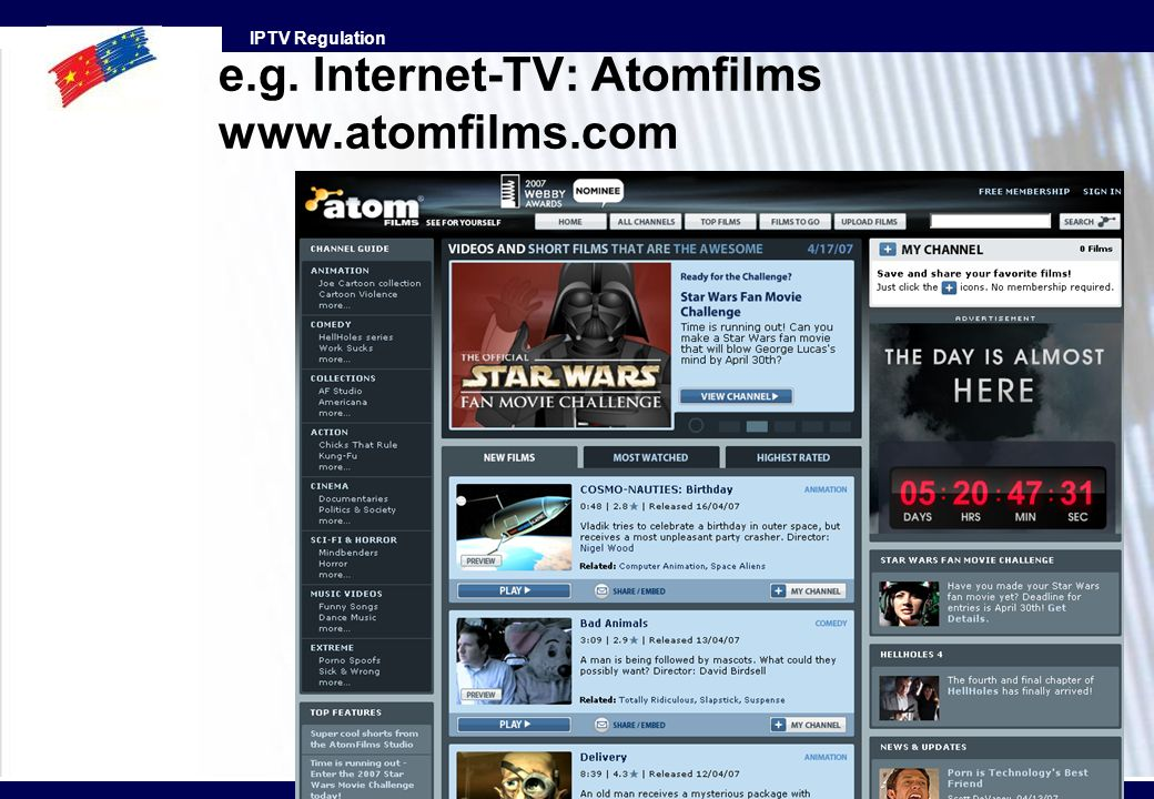 e.g. Internet-TV: Atomfilms