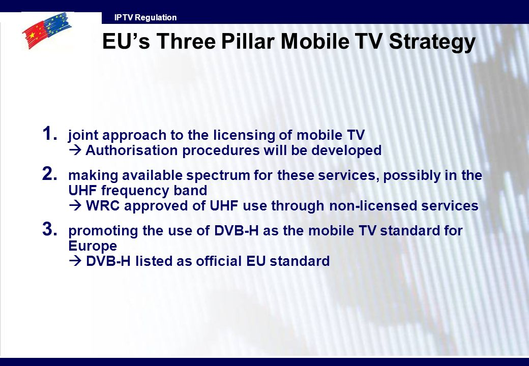 EU's Three Pillar Mobile TV Strategy