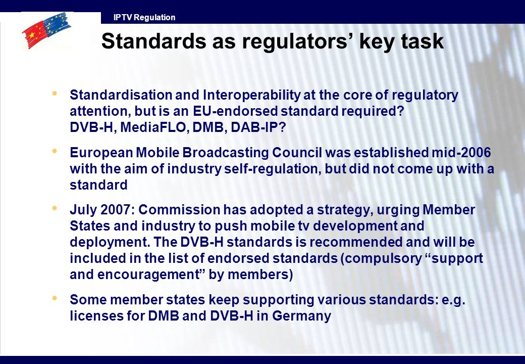 Standards as regulators' key task