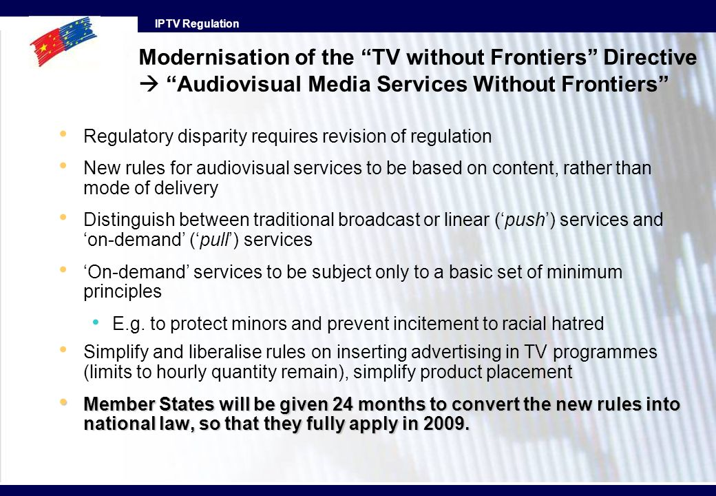 Modernisation of the TV without Frontiers Directive  Audiovisual Media Services Without Frontiers