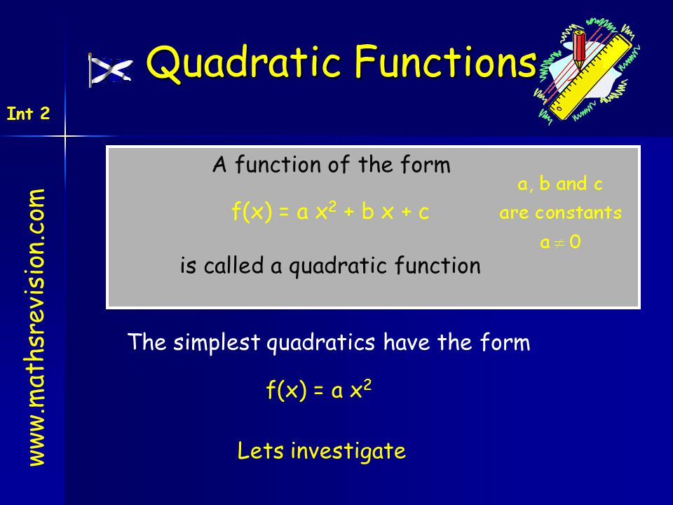 Quadratic Functions www.mathsrevision.com A function of the form