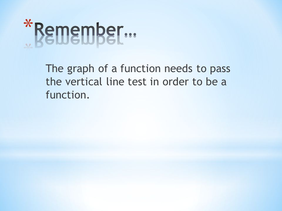 Remember… The graph of a function needs to pass the vertical line test in order to be a function.