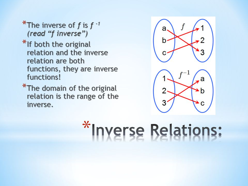 Inverse Relations: The inverse of f is f -1 (read f inverse )