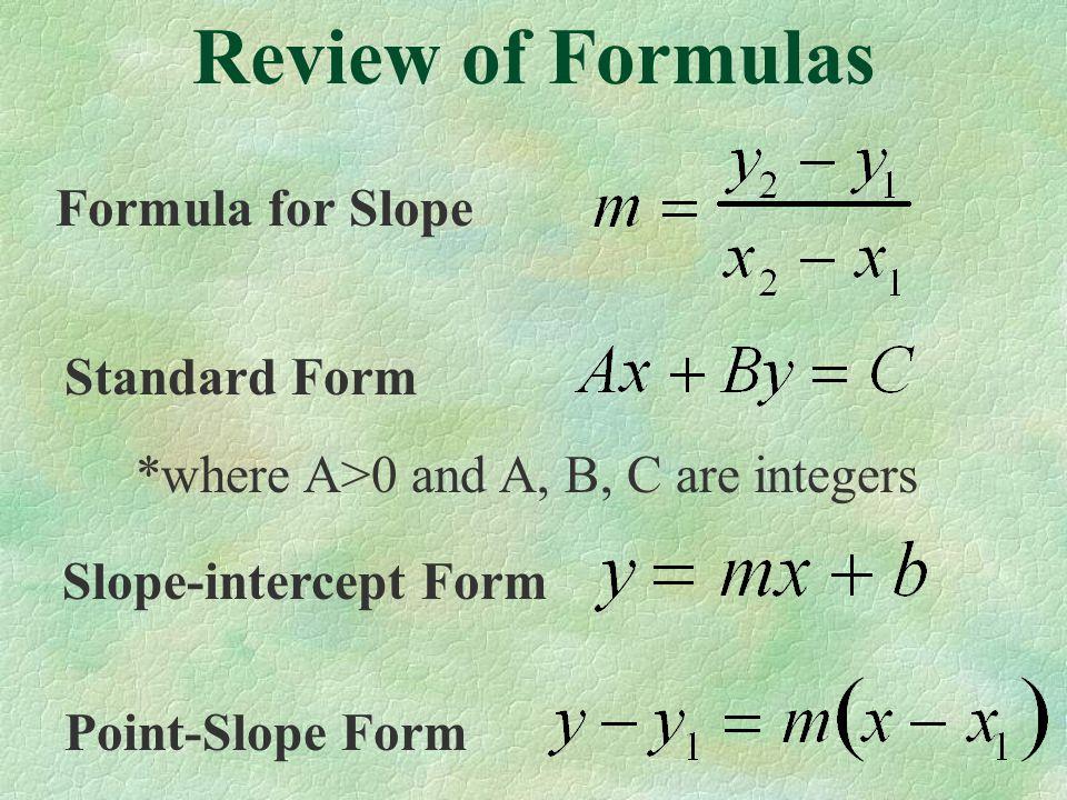Review of Formulas Formula for Slope Standard Form