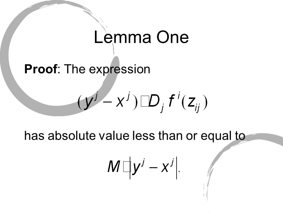 Lemma One Proof: The expression