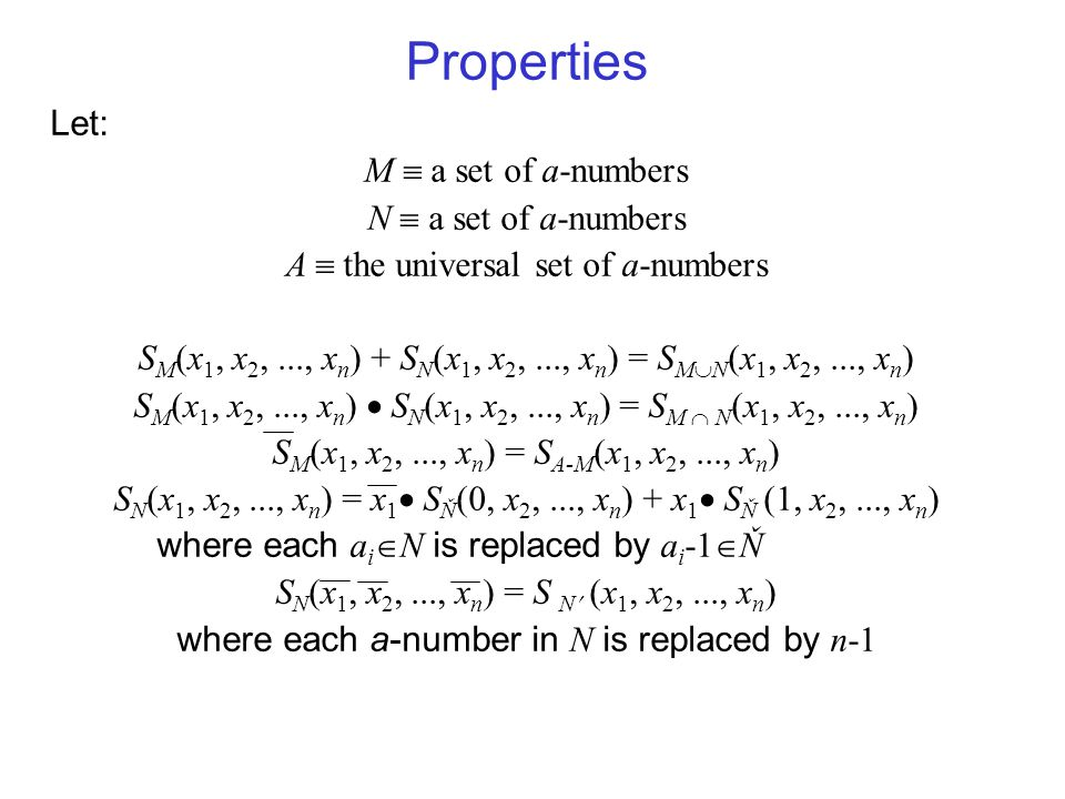 Properties Let: M  a set of a-numbers N  a set of a-numbers