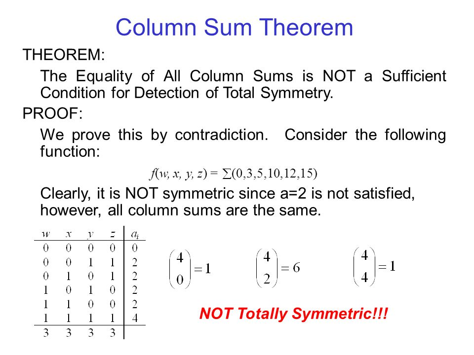 Column Sum Theorem THEOREM: