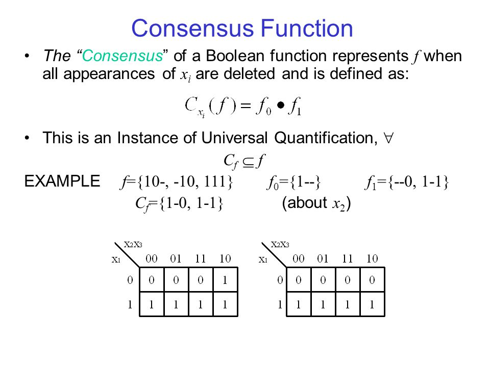 Consensus Function The Consensus of a Boolean function represents f when all appearances of xi are deleted and is defined as: