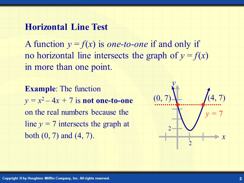 Horizontal Line Test A function y = f (x) is one-to-one if and only if no horizontal line intersects the graph of y = f (x) in more than one point.