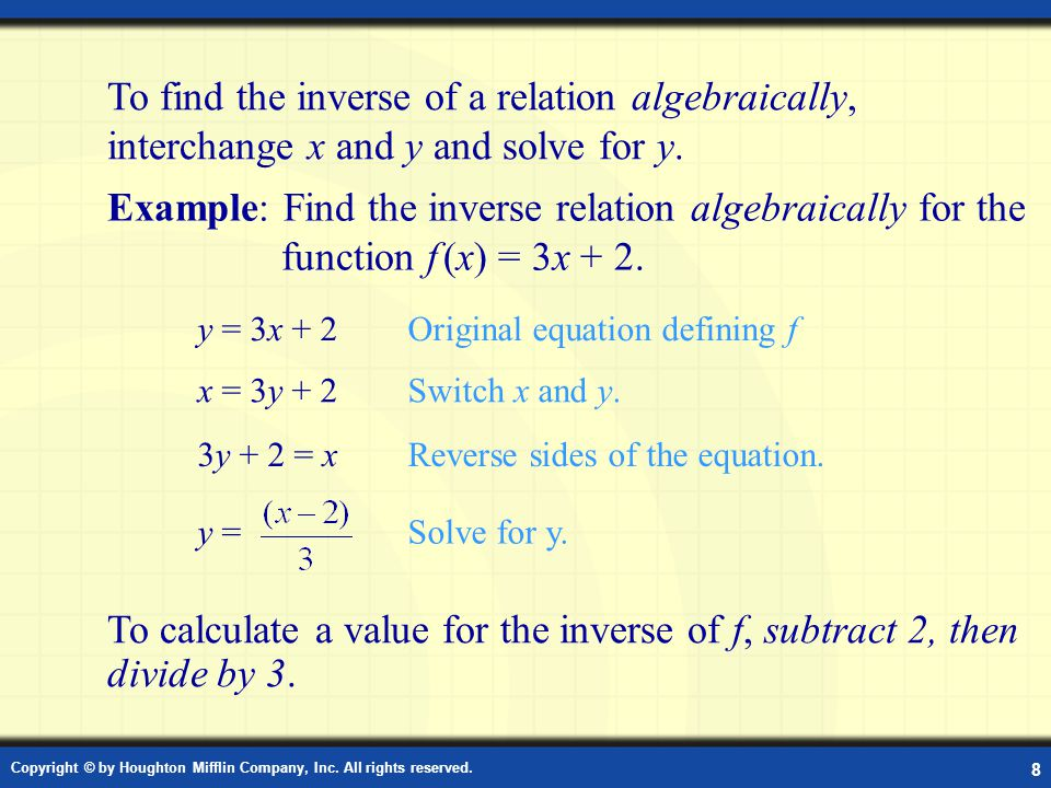 Example: Inverse Relation Algebraically