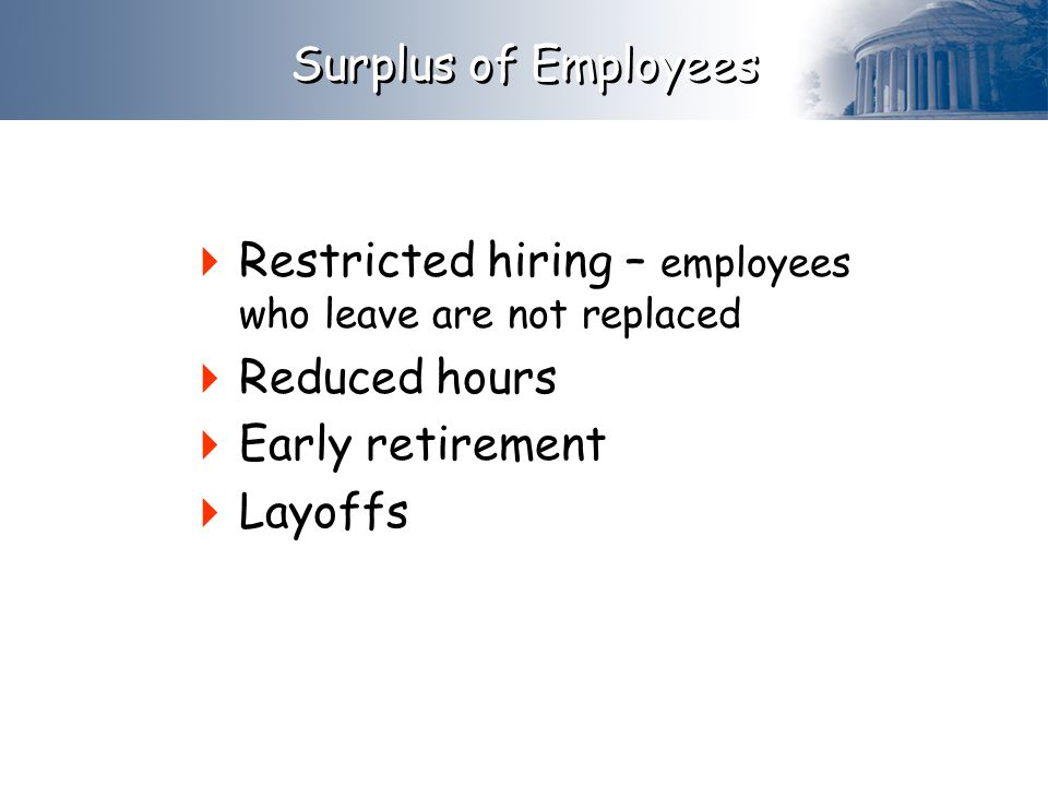 Surplus of Employees Restricted hiring – employees who leave are not replaced. Reduced hours. Early retirement.