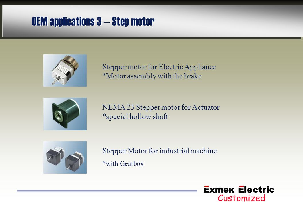 OEM applications 3 – Step motor