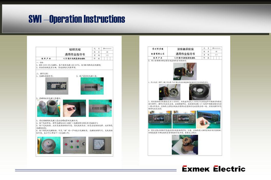 SWI –Operation Instructions