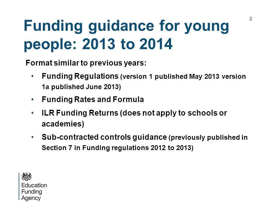Funding guidance for young people: 2013 to 2014