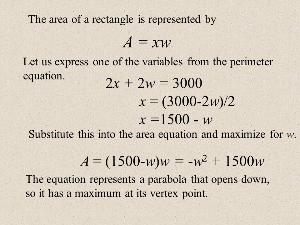 The area of a rectangle is represented by